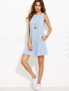 Casual striped blue and white preppy dress. Fabric: Fabric has no stretch Season: Summer Type: Tank Pattern Type: Striped Sleeve Length: Sleeveless Color: Blue Dresses Length: Short Style: Casual Material: 100% Cotton Neckline: Round Neck Silhouette: Shift Shoulder(Cm): XS:26cm, S:27cm, M:28cm, L:29cm Bust(Cm): XS:87cm, S:91cm, M:95cm, L:99cm Length(Cm): XS:86.5cm, S:87.5cm, M:88.5cm, L:89.5cm Size Available: XS,S,M,L