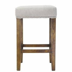Ash Counter Stool with Silver Nailheads