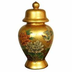 """Oriental Furniture Elegant Classic East Asian High End Decorative Accessories, 11-Inch Ming Gold Leaf Lacquer Birds and Flowers Porcelain Temple Jar by ORIENTAL FURNITURE. $57.00. Fine high temperature jiangxi fine porcelain w/gold leaf and gloss lacquer finish. Part of one of the web's largest collections of asian furniture and décor on amazon.com. 11"""" tall by 7"""" diameter, imported ming design decorative temple jar, each a work of art. Beautifully decorated w/delicately h..."""