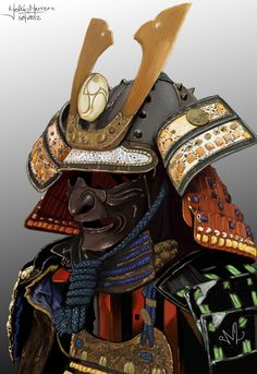 Armor - By Melvin Marrero Samurai Warrior Tattoo, Warrior Helmet, Samurai Helmet, Helmet Armor, Samurai Armor, Japanese Mask, Japanese Warrior, Japanese Tattoo Art, Tattoo Japonais
