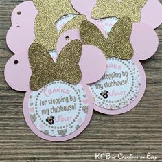 Gold GLITTER & Pale Pink Minnie Mouse Favor Tags