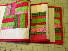 Festive Holiday Quilted Table Runner by Clothstitched on Etsy