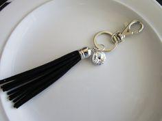 Swarovski crystal charm keychain with black suede by LeeliaDesigns
