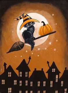 Black Cat Pumpkin Delivery - paint and art Retro Halloween, Spooky Halloween, Halloween Kunst, Halloween Artwork, Halloween Painting, Halloween Pumpkins, Holidays Halloween, Happy Halloween, Halloween Decorations