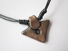 Mens metallic pendant, mens necklace, mens cord necklace, polymer clay arrowhead pendant