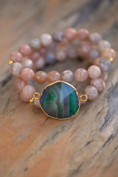 Groene Agaat Geode stretch armband set