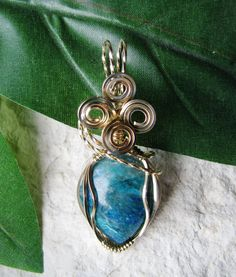 Chrysocolla 14K GoldFilled Wire Wrapped Pendant by SISDesigns, $58.00