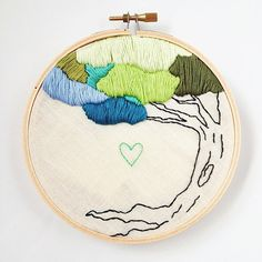 Hand Embroidered Colorful Tree and Heart by MyTrashAndTreasure