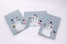 Children's hand prints and snowmen.