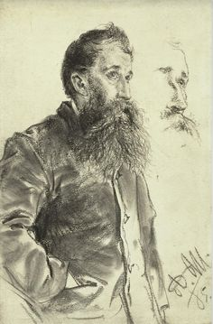 Adolph von Menzel: Study of a Man with a Beard, His Hand in His Pocket,1885 / MFAH