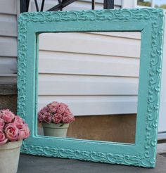Robins Egg Blue Mirror want to paint all my mirrors like this!