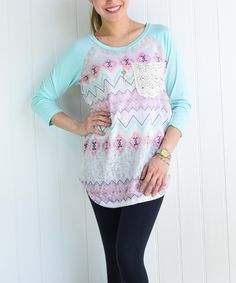 Look at this éloges Mint Geometric Raglan Tunic on #zulily today!