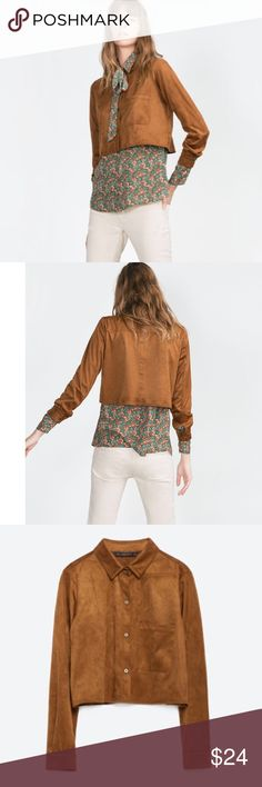 NWT Zara Suede Cropped Overshirt Sz. Small Zara suede-style cropped button-down over shirt in a size Small. Perfect for Fall layering.  In brand new condition with tags. Zara reference no. 0787/227. Spring 2016 Zara Tops Button Down Shirts