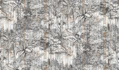 A delicate hand-drawn pattern of a tropical jungle superimposed on the surface of standing whitewashed wooden boards. This wallpaper can be used as an exotic feature wall, with the structure of the boards giving the room depth and texture. If combined with Bali Boards it will create a relaxed setting for your decor.