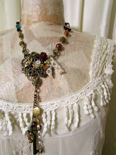 Repurposed Assemblaged Necklace made of beads metal by GrandmaDede