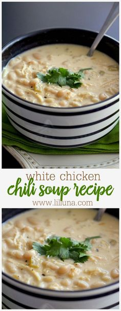 Delicious White Chicken Chili Recipe - one of the heartiest soup recipes ever! We love having this for dinner.