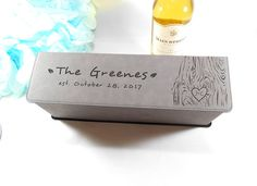 Personalized Gray, Grey Leatherette Wine Box,  Custom Engraved Wedding Wine Box, Corporate Gift