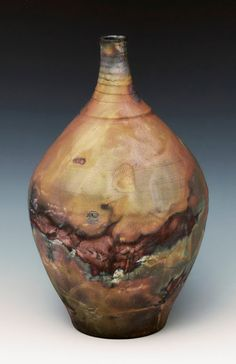 Raku Pottery Vase with copper glaze and shell impressions - Highland Pottery