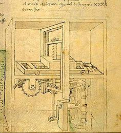 Leonardo da Vinci (d. incorporated a crank and rod in his designs. Renaissance Architecture, Architecture Art, Da Vinci Inventions, Invention And Innovation, Renaissance Paintings, Renaissance Men, Prop Design, Technical Drawing, Western Art