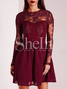 Shop Burgundy Crew Neck Applique Pouf Dress online. SheIn offers Burgundy Crew Neck Applique Pouf Dress & more to fit your fashionable needs.