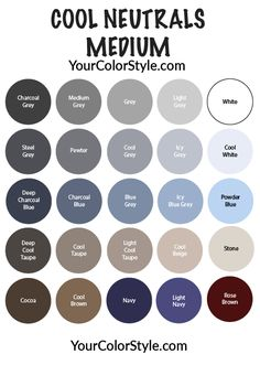 Cool and Medium Neutrals Style Guide - Spring/Summer - Your Color Style - Bright Neutrals: Medium & Cool – Your Color Style Club Source by - Soft Summer Color Palette, Cool Color Palette, Neutral Colour Palette, Summer Colors, Summer Color Palettes, Deep Winter Colors, Neutral Style, Neutral Outfit, Paint Colors For Home