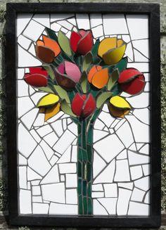 "Tulips 12""x18"" mosaic  by Nikki Murray-Mason at Nikki Inc Mosaics, Bermuda."