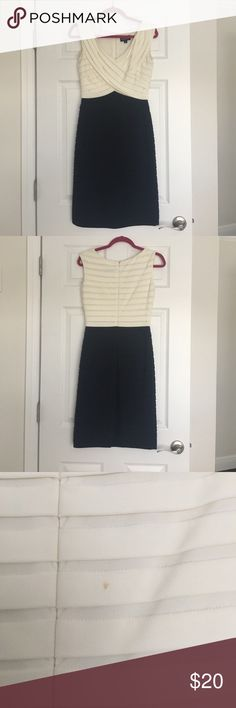 """Adrianna Paper """"Layer"""" Dress Beige and navy layer sleeveless dress. Great for weddings or cocktail parties. Excellent condition except for small stain on back top of dress (see photo #3). Comfortable and flattering. Fully lined. Adrianna Papell Dresses"""