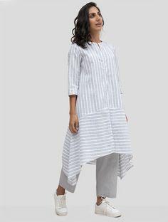 Buy White Striped Linen Tunic Women Tunics In The Summertime Easy block printed . Tunic Designs, Kurti Neck Designs, Kurta Designs Women, Linen Tunic Dress, Linen Dresses, Tunic Dresses, Apron Dress, Bride Dresses, Wedding Dresses