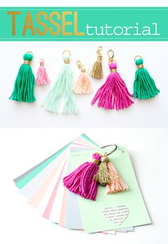 tutorial for making a notebook out of paint chips with some cute handmade tassels attached. Below you will find a step by step DIY for making tassels out of embroidery thread or crochet thread… How To Make Tassels, How To Make Diy, Making Tassels, Diy Tassel, Tassel Jewelry, Thread Crochet, Embroidery Thread, Glands, Arts And Crafts