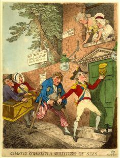 """Charity Covereth a Multitude of Sins,"" Thomas Rowlandson, British Museum. Satirical Cartoons, Sailor Outfits, Disney Images, Political Art, Vintage Artwork, Vintage Prints, Destiny's Child, Royal Navy, British Museum"