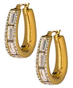 Carolee Stone Oval Hoop Rock On Earrings