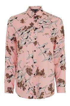 Bird In Flight Print Shirt #Topshop