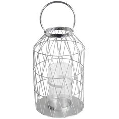 Silver Cutout Triangle Lantern, 17 in. ($45) ❤ liked on Polyvore featuring home, home decor, candles & candleholders, silver pillar candles, silver candles, silver lanterns, silver home decor and silver home accessories