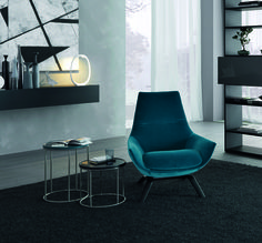 Upholstered velvet armchair with armrests ERMES Atelier Collection by MisuraEmme | design Mauro Lipparini