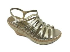 CHICO'S NEW $139 Elaine Wedge Sandals Metallic Gold Womens Shoes Leather NIB #Chicos #PlatformsWedges #Casual