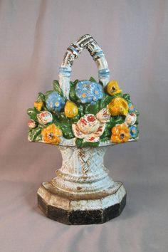 Vintage Door Stop Basket of Flowers Cast Iron