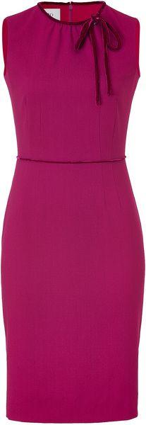 Valentino Velvet Bow Embellished Dress in Purple