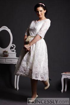 A line Scoop Neck Half Sleeves Layered Lace Tea Length Wedding Dress Satin Belt : Princessly.com K1001834 A Line Scoop Neck Half Sleeves Layered Lace Tea Length Wedding Dress W_ Satin Belt 30