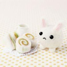 DIY handmade felt wool rabbit and egg sandwich  por 1127handcrafter