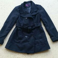 "Womans Black Peacoat Womans Black Button Up Jacket/ Coat. Pea coat style. 3 buttons. Side pockets. Size Large. Brand: Say What. Shell: 95% Polyester, 5% Wool. Lining: 100% Polyester. Has a belt around the waist.  When buttoned, laying flat, from shoulder to bottom is 30"" long, across chest, 18"" wide. Sleeve length: 24"" long. No rips, tears or defects. Comes from a smoke free home. Say What Jackets & Coats Pea Coats"