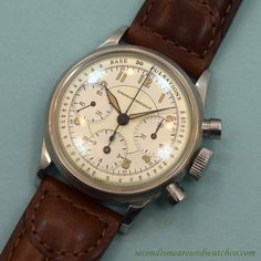 A 1950's era Girard Perregaux 3 Register Chronograph Stainless Steel timepiece…