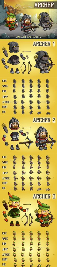 Archer 2D Game Character Sprite Sheet