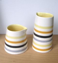 New striped pottery from Jill Rosenwald.