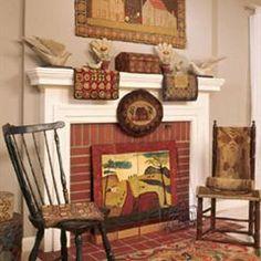 Hooked rugs & fireboard
