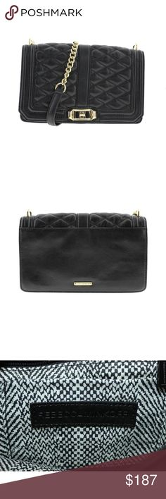 Rebecca Minkoff  Love Black Quilted Crossbody Rebecca Minkoff  Love Black Quilted Crossbody Handbag M.  Manufacturer: Rebecca Minkoff Size: Medium Manufacturer Color: Black Condition: New WOT store display.               Style Type: Messenger & Cross Body Collection: Rebecca Minkoff Handle Type: Single Compartment: Zipper Closure: Twist Lock Bag Height (Inches): 6 Inches Bag Width (Inches): 9 1/2 Inches Bag Depth (Inches): 3 Inches Strap Drop (Inches): 21 Inches Material: 100% Genuine…