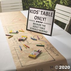 If you're designating a kids' table at your wedding reception, make sure it stands out with the help of this adorable wedding sign. Cute Wedding Ideas, Wedding With Kids, Summer Wedding Ideas, Unique Wedding Reception Ideas, Wedding Decorations On A Budget, Creative Wedding Ideas, Different Wedding Ideas, Wedding Table Signs, Kids Table Wedding