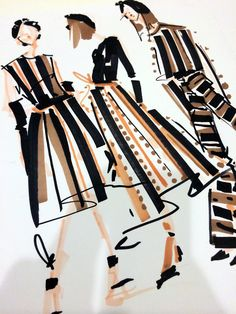 Stripes & Dots, by Jenny M Walton, Markers and Microns // This is absolutely gor. Fashion Design Sketchbook, Fashion Design Portfolio, Fashion Design Drawings, Illustration Mode, Fashion Illustration Sketches, Fashion Sketches, Fashion Books, Fashion Art, Fashion Trends