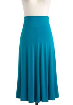 Un-teal Tomorrow Skirt - Long, Blue, Solid, A-line, Casual, Boho, Jersey, Minimal