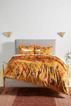 Layne Velvet Quilt by Anthropologie in Yellow, Bedding Velvet Quilt, Velvet Curtains, Bedroom Furniture, Home Furniture, Retro Furniture, How To Clean Iron, Bed Throws, California King, Duvet Covers