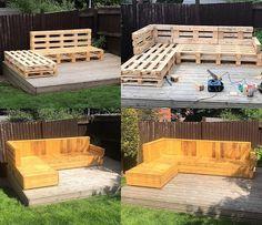 DIY pallets wooden garden deck furniture